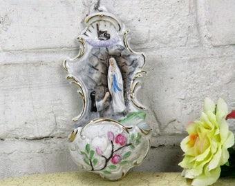 Gorgeous Porcelain Holy Water Font Our Lady of Lourdes Bernadette Rosebuds