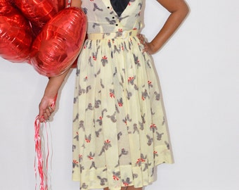 Vintage Estate 1950s Black Cream Red Dog Bow Print Day Dress