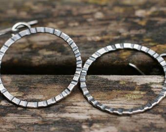 Silver Circle Earrings, Big Circle Earrings, Sterling Silver Earrings, UK Handmade