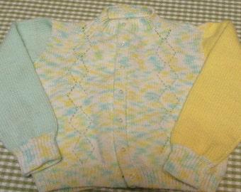 Vintage Handmade Toddler Sweater Handknit Diamond Pattern Pastel Yellow, Green, and White