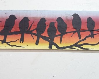 Birds Silhouette Barn Wood Painting