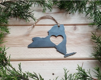 Love New York State Steel Ornament Rustic NY Metal State Heart Host Gift Keepsake Travel Wedding Favor By BE Creations