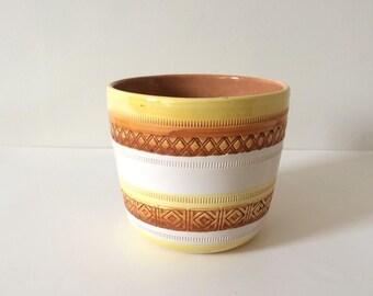 vintage yellow and terracotta orange italian pottery planter