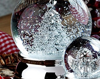 Precious Snow Ball-Tannebaum-silver-plated and start-up protected-10 cm-great snow globe Christmas tree-metal