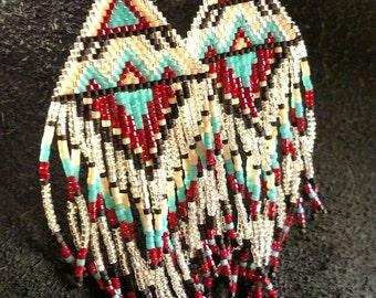 Native American Inspired Hand Beaded Fringe Earrings