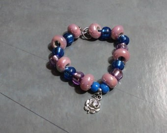 Blue and Pink Large Hole Beaded Bracelet