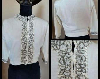 Beautiful Ivory Wool Beaded Sweater 60's Ricky Bo Hong Kong Crop