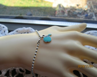 """Vintage Designer Sterling Silver 925 7.5"""" Chain with Turquoise Enamel 925 Apple Charm, Wt. 4.5 Grams"""