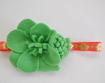 CLEARANCE Green and Pink Felt Flower Headband