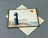 Hand Stamped Lighthouse Birthday Card - Stampin' Up! Masculine Birthday Card - High Tide Greeting Card - Beach Scene Birthday Greeting Card