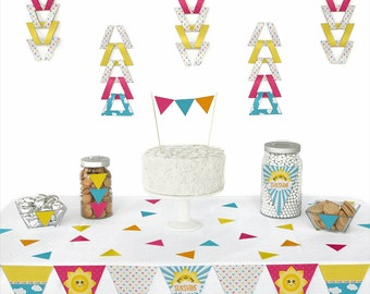 You Are My Sunshine - Pennant Decoration Kit - Baby Shower or Birthday Party Garland Paper Party Kit - DIY Party Decorations - 72 Piece