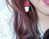 Rose Planter Earrings (Miniatures)