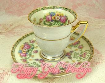 Teacup / Vintage Teacup / Beautiful Porcelain Mini Teacup / Demitasse with Pink Roses by Thomas of Bavaria
