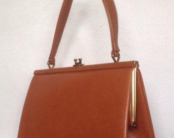 Tan (Peach) Leather Handbag. 1960's.