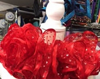Red Tutu with hearts and ribbon edge