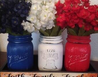 Americana Mason Jar Centerpiece, Liberty Mason Jars, Red White Blue Mason Jar, Vintage Mason Jars, Painted Mason Jar, 1776 Jars, 4th of July