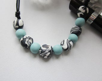 Black and white bead necklace, polymer clay bead womens cord necklace