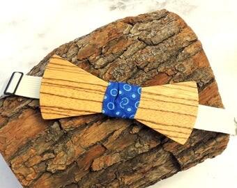Zebrawood bow tie; Blue fabric center tie; Wooden bow tie; Unique bow tie; Handmade bow tie