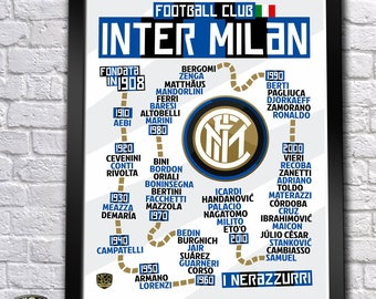 FC Inter Milan History Timeline Poster (Icardi, Zanetti, Ronaldo, Ibrahimović...) - 18''x24''