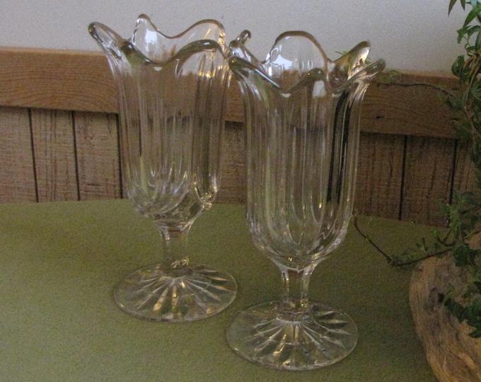 Vintage Large Crystal Tulip Vases or Candle Holders or Parfait Glasses Vintage Lighting Set of Two (2)