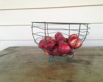 Vintage  Egg or  Fruit  Wire Basket Hand Made 1940s
