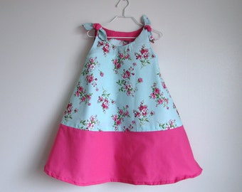 Mint Aqua Sundress with Bright Pink Accent and Spring Flowers, Little Girl Toddler Sundress, Size 3T