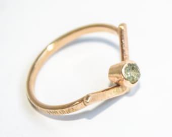 Geometric & Edgy Montana Saphire Ring in 14k Yellow Gold