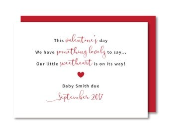 Valentines Day Pregnancy Announcement Card, New Baby Reveal, Printable Digital Custom DIY