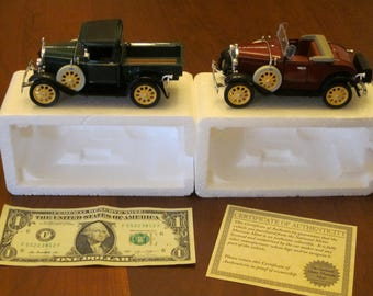 Vintage Replica 1931 Ford Model A Coupe and Pick-Up Truck by National Motor Museum Mint - Set of Two (2)