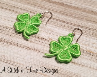 FSL Shamrock Earrings or Charms - Machine Embroidery File - Instant Download