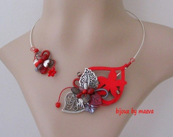 costume jewelry Necklace Red Hearts