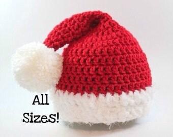 Santa Hat- Baby Santa Hat- Beard Hat- Toddler Santa Hat- Kids Hats- Adult Santa Hat- Christmas Hat- Newborn Photo Props- Christmas Pajamas