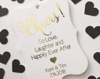 Cheers! Color Foil Wedding Favor Tags, Wedding Tags, Custom Wedding Hang Tags (EC-395-F)