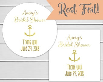 Bridal Shower Favor Stickers, Nautical Bridal Shower Stickers, Bridal Shower Wedding Labels (#061-F)