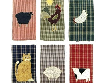 COUNTRY TOWELS by Little Country Quilts Applique' Cat Rooster Cow Seep Kitchen Decor
