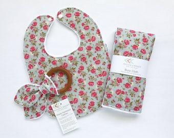 Baby Bib, Burp Cloth, and Teether Set - Vintage Style Baby Bib Set - Floral Bib, burp Set - Baby Girl Gift Set - Minky Bib - Handmade Gift