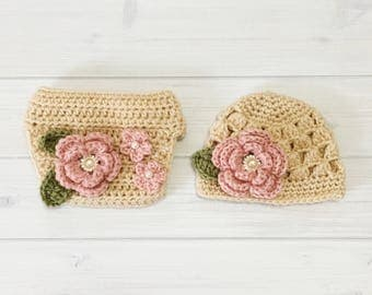 Ready Ship! Newborn-3M Baby Girl Photo Prop Handmade Crochet Flower Beanie & Diaper Cover Set