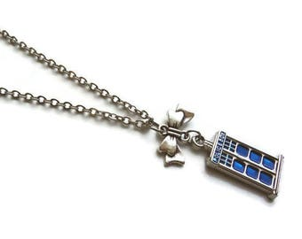 Vintage Doctor Who Necklace Tardis Police Box with  Ribbon Bow Charm - Stainless Steel Chain - Whovian gift