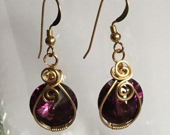 Amethyst Swarovski Rivoli & Gold Earrings