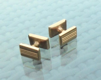 1930s Art Deco Cufflinks Gold Tone - Double Ended Oblong Shape - Expanding Retractable Chain - Made in England - Gift Boxed