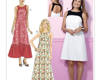 Butterick Pattern B6447 Misses' Back-Cutout Dresses with Yokes