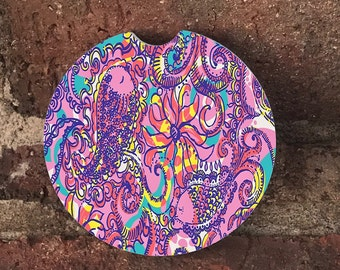 Sandstone Paisley Lilly Auto Car Cup Holder Coasters (set of2), Absorbent Sandstone Personalized, Custom Car Coasters (set of2) Gift Ideas