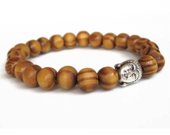 Buddha bracelet, wood bead bracelet, brown beaded bracelet, mens bracelet, mens gift idea