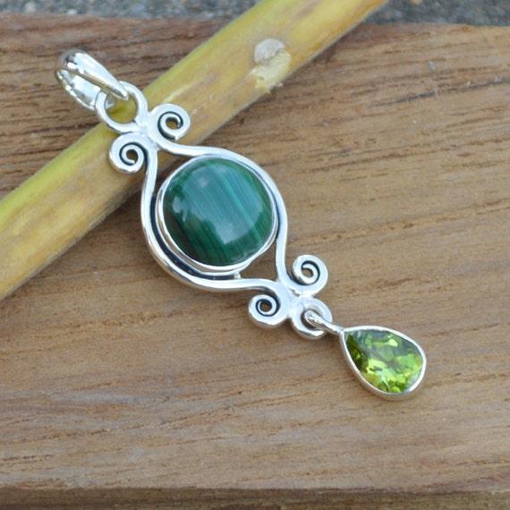 Natural Malachite Gemstone Pandant, Solid 925 Sterling Silver Pandant, Peridot Pandant, Green Bold Pandnat, Solitaire Pandant,