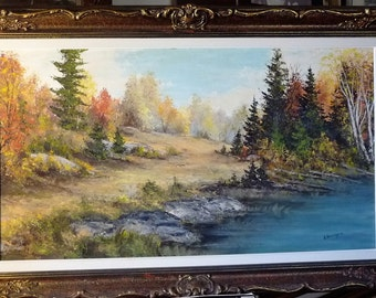 "Panoramic Countryside, Golden Forest Path Over a Hill, Large Autumn Landscape, Original Painting by E. Benninger ""Autumn Playground"""