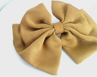 Mustard Yellow Vintage Hair Bow Clip Large Blonde
