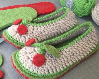 Crochet KIT for Joe's Toes Cherry Slippers UK ladies' sizes 1-12