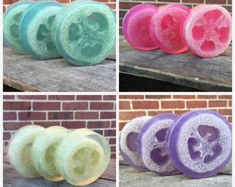 Soap Gift Set - Glycerin Soap, Essential Oil, Loofah Soap, Loofa Soap, Luffa Soap, Natural Exfoliant, Natural Soap, Handmade