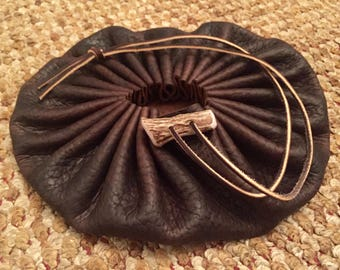 """Large robust 9"""" buffalo hide pouch"""