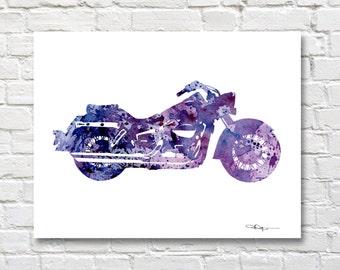 Harley Davidson Art Print - Abstract Motorcycle Watercolor Painting - Wall Decor